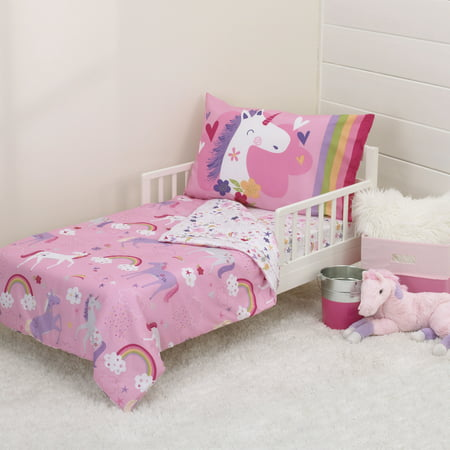 Crib Bedding Bundle Set - Parent's Choice 4 Piece Toddler Bedding Set, Unicorn
