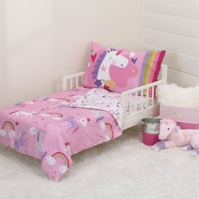 Delta Children Reversible Girls Toddler 4 Piece Bedding Set Fitted Sheet Flat Top Sheet W Elastic Bottom Fitted Comforter W Elastic Bottom