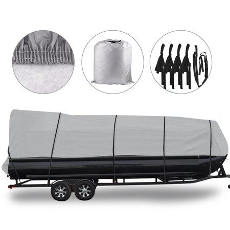 (Waterproof Boat Cover All Seasons Outdoor Protector Aluminium Film Composite Cotton Fits Quick Release Buckle Strap (Gray, Fit 21'-24'L x 102