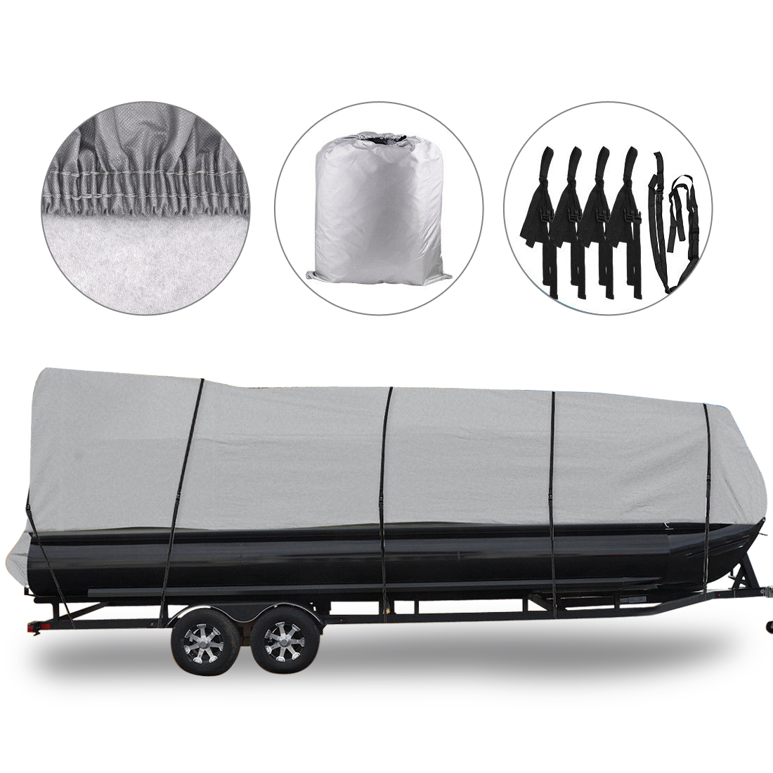 """Waterproof Boat Cover All Seasons Outdoor Protector Aluminium Film Composite Cotton Fits Quick Release Buckle Strap (Gray, Fit 21'-24'L x 102"""" Beam Width)"""