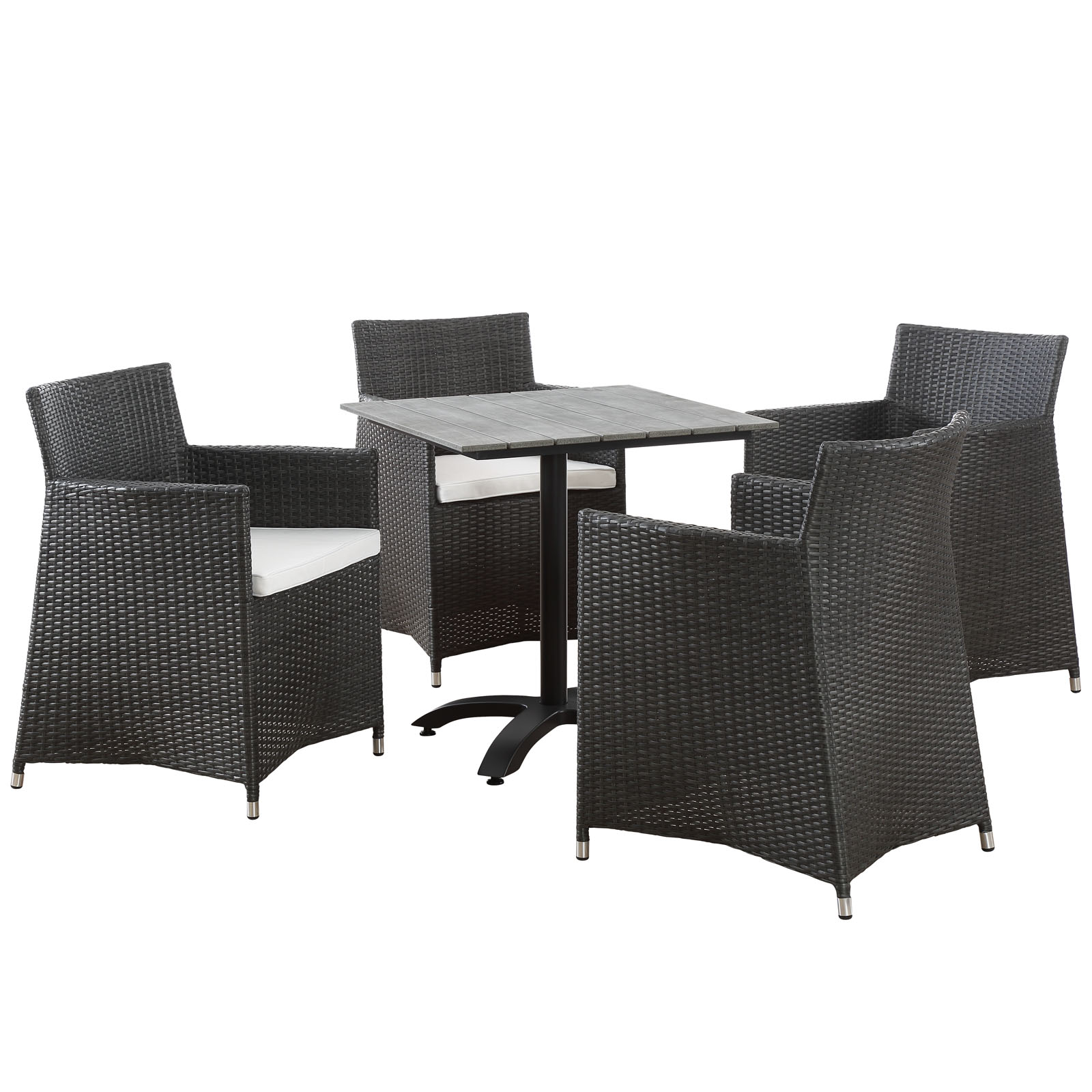 Modern Urban Contemporary 5 pcs Outdoor Patio Dining Set, Brown White Plastic