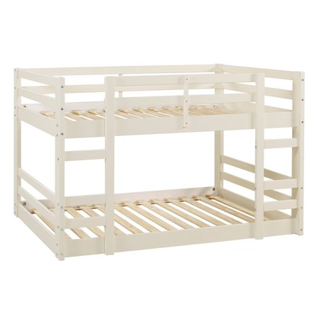 Log Bunk Bed - Low Wood Twin Bunk Bed - White