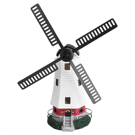 Solar Windmill - Dilwe Solar Garden Figurines, Small Windmill Lighthouse Outdoor Led Solar Garden Statue