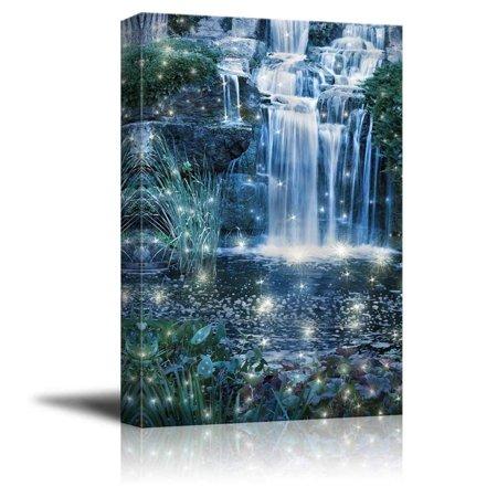 Fantasy Fairy Art (Wall26 - Magic Night Waterfall Scene (Fantasy Fairy Waterfall) - Canvas Art Wall Decor - 32
