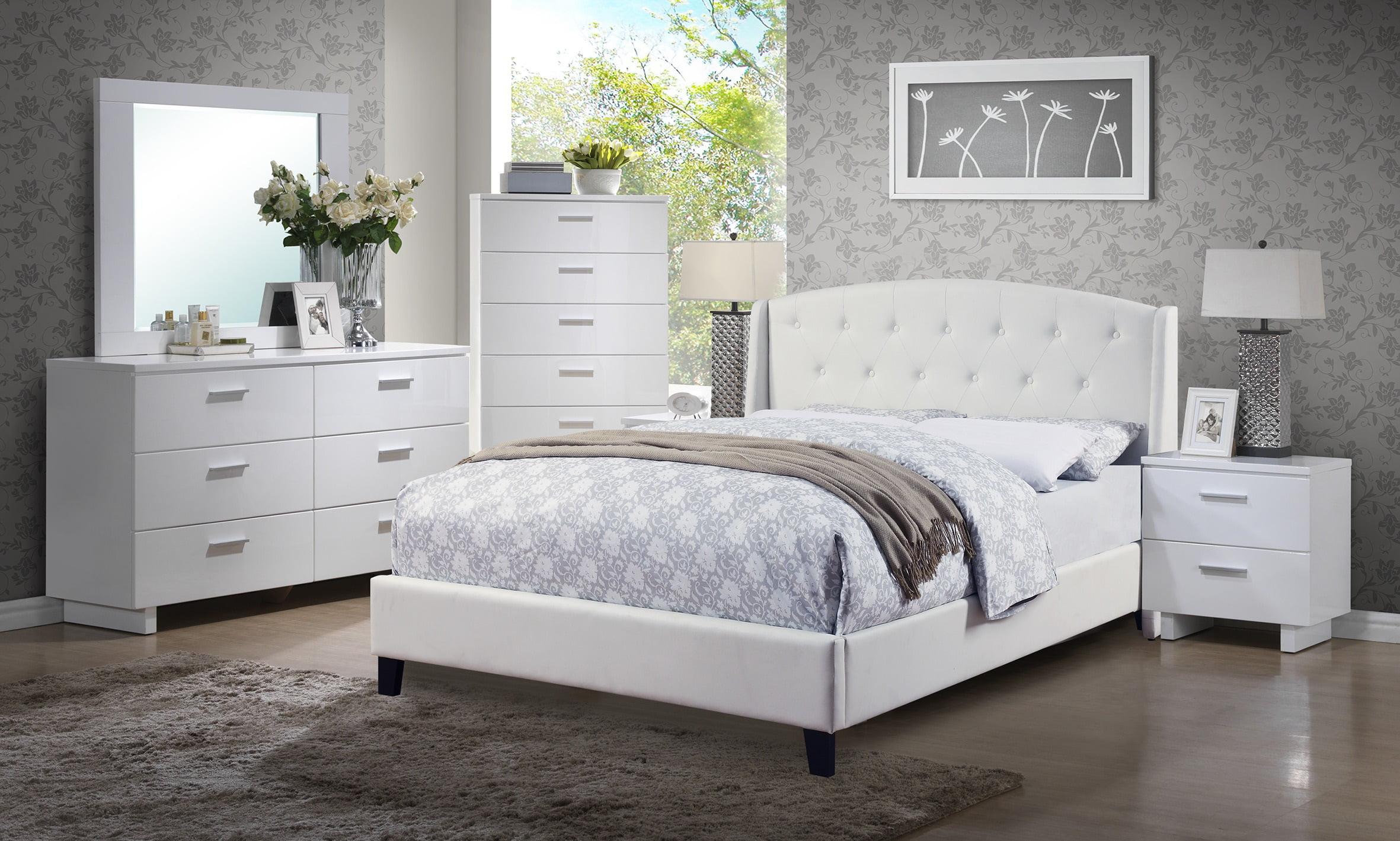 contemporary decor 4pc set white bedroom furniture classic