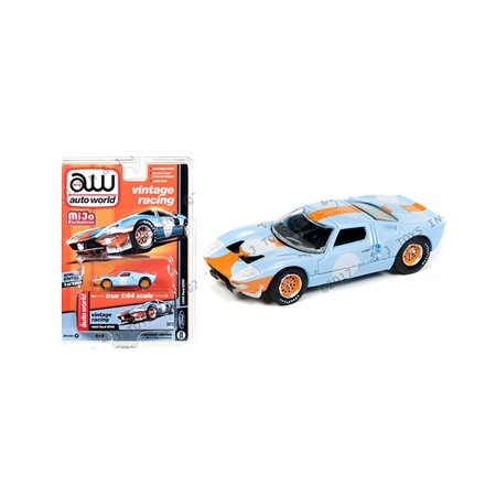 AUTO WORLD 1:64 MIJO EXCLUSIVES - VINTAGE RACING - 1965 FORD GT 40 BLUE DIECAST TOY CAR CP7431-24