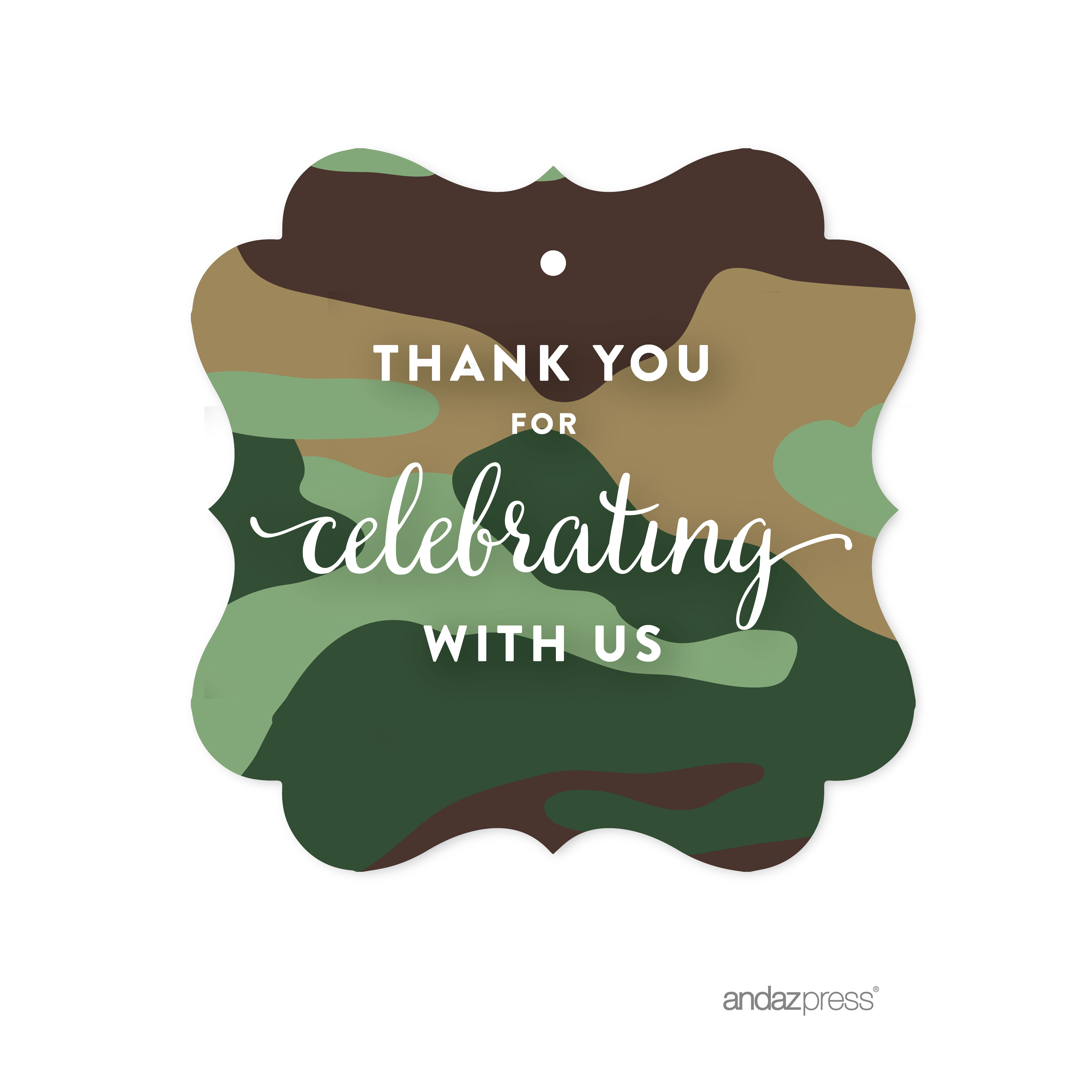 Thank You For Celebrating With Us! Green Woodland Camouflage Boy Baby Shower Fancy Frame Gift Tags, 24-Pack