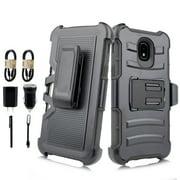 ~Value Pack~ for Samsung Galaxy J7 (2018)/ J7 Refine/ J7 Star/ J7V 2nd Gen. /J737 Case Phone Case Clip Holster 2 Kickstands Hybrid Shockproof Bumper Cover Black