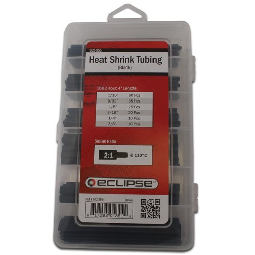 "Eclipse Tools 902-355 Heat Shrink Tubing Kit, 2:1 Shrink Ratio, 4"" Length, Black"