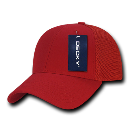 3e1166b0b DECKY Low Crown Air Mesh Baseball Trucker Cap Hat Hats For Men Women RED/RED