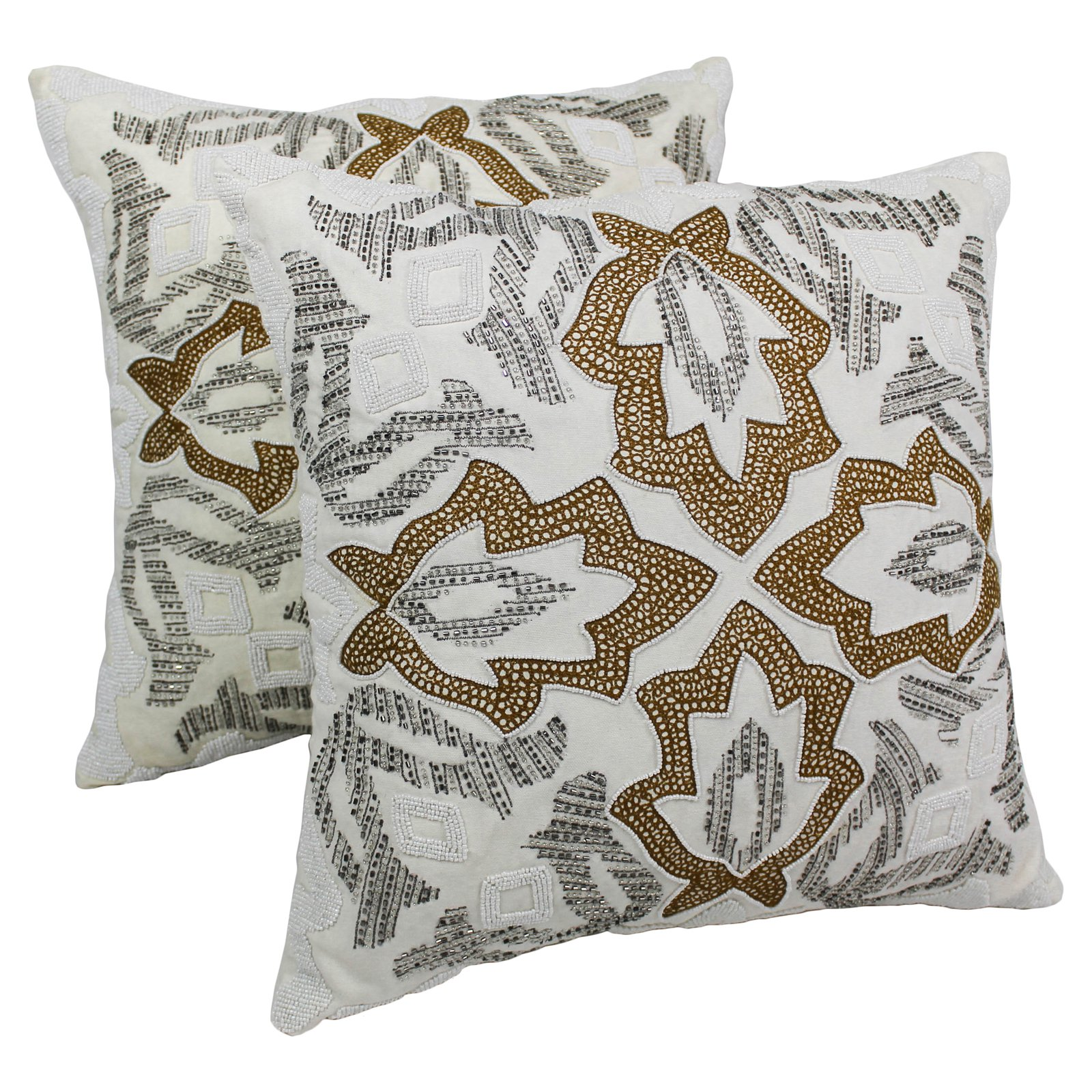 Blazing Needles 20 x 20 in. Symmetrical Floral Beaded Throw Pillow - Set of 2