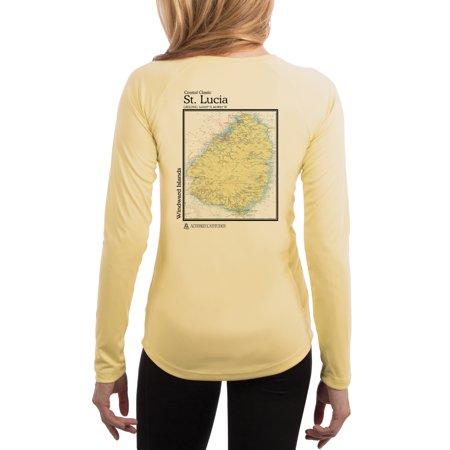 Saint Lucia Chart Women's UPF 50+ Sun Protection Long Sleeve T-shirt X-Large Pale Yellow](Saint Lucia Day)