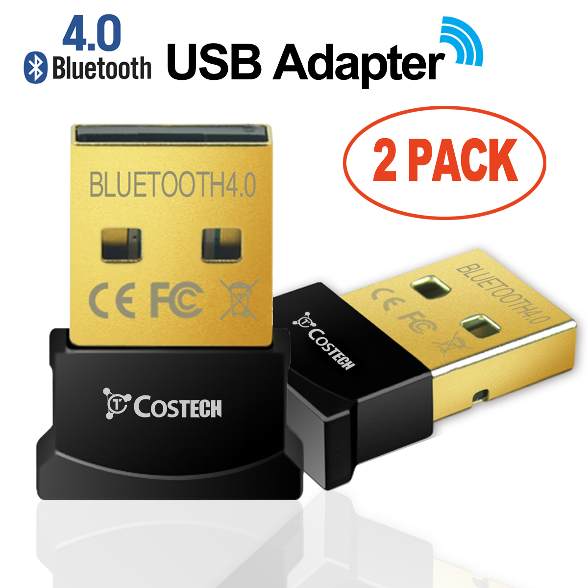 Costech Bluetooth 4.0 USB Adapter Gold Plated Micro Dongle 33ft/10m Compatible with Windows 10,8.1/8,7,Vista, XP, 32/64 Bit for Desktop , Laptop, computers (2 Pack)
