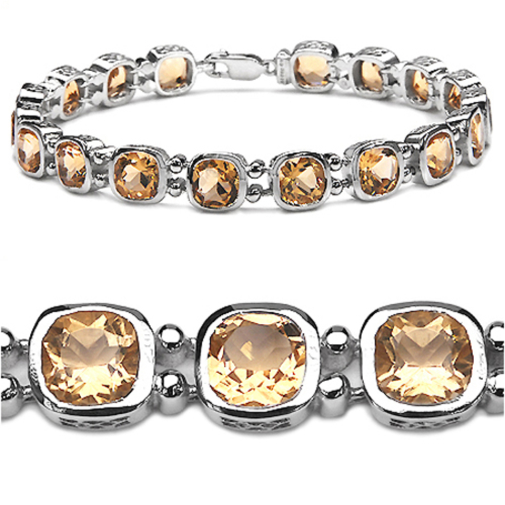 Genuine Cushion Citrine Bracelet in Sterling Silver by