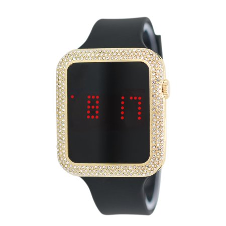Iced Out Lab Diamond Square Gold Digital Touch Screen Sports Watch with Black Silicone - Le Grand Sport Diamond Watch