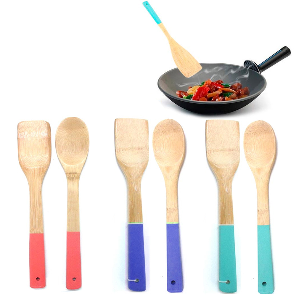 2 Bamboo Spoon Spatula Set Wooden Kitchen Cooking Mixing Tool Utensil Non Stick