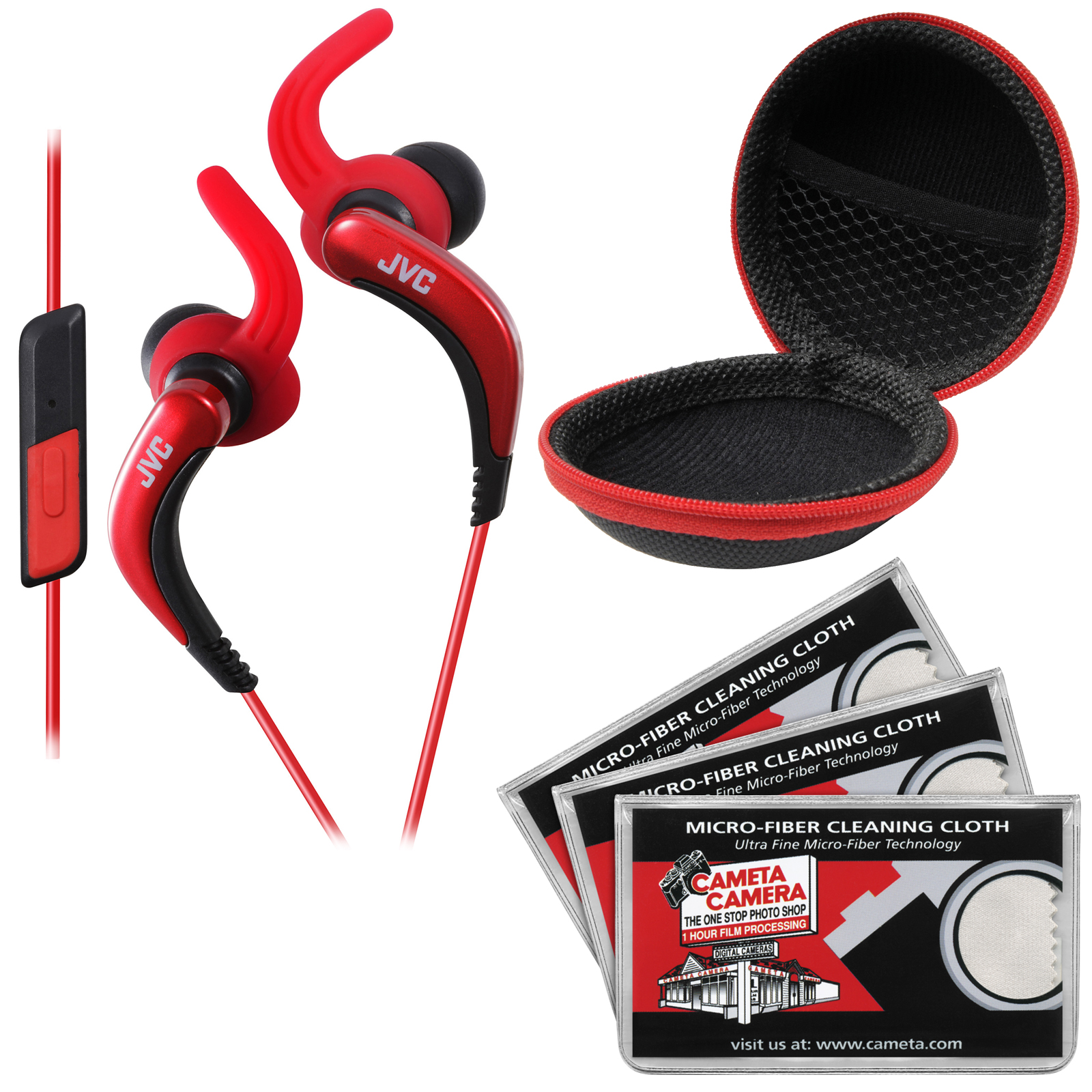 JVC HA-ETR40 Inner Ear Headphones with Remote & Mic (Red) with Case & 3 Microfiber Cloths