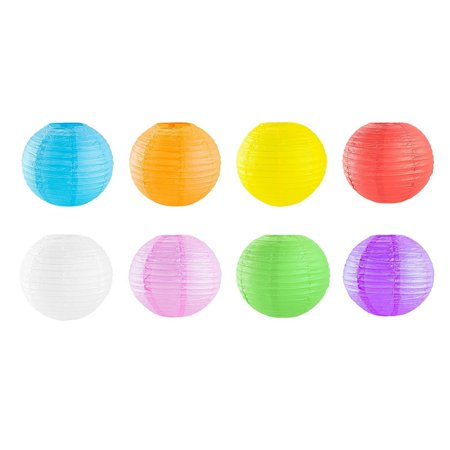 Super Z Outlet 12-Inch Chinese Hanging Paper Lantern, Assorted Colors, 8-Pack (Paper Latern)