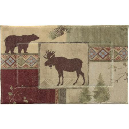 "Bacova Guild Mountain Lodge Bath Rug, Olive, 1'8"" x 2'10"