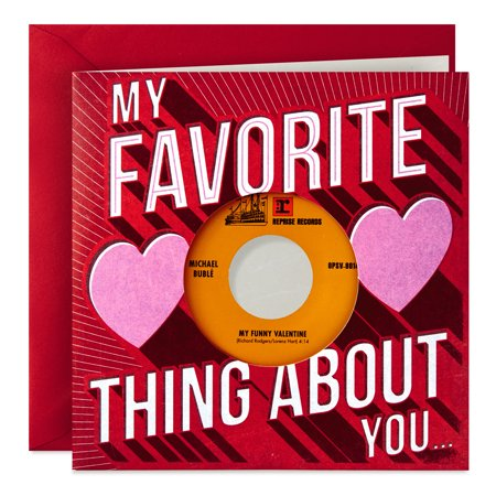 Hallmark Valentine's Day Card with Michael Bublé Vinyl Record (Real 45 Record Plays My Funny Valentine and Everything)