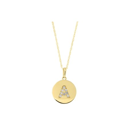 14k Yellow Gold Cubic Zirconia Initial Disc Pendant Necklace, M, 18