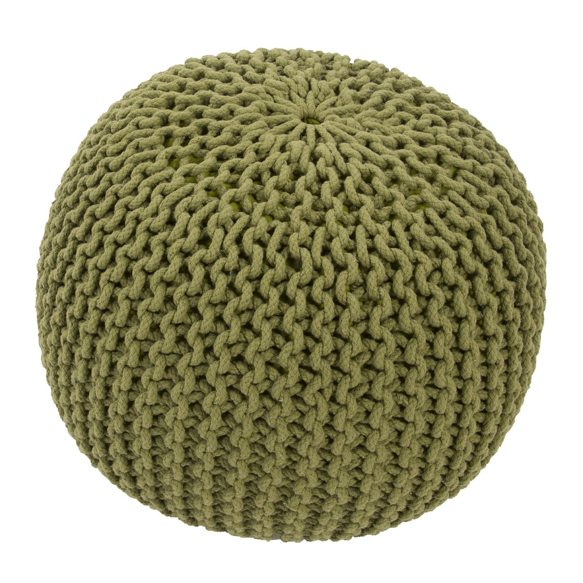 "20"" Fern Green Round Decorative Spectrum Pouf Ottoman"