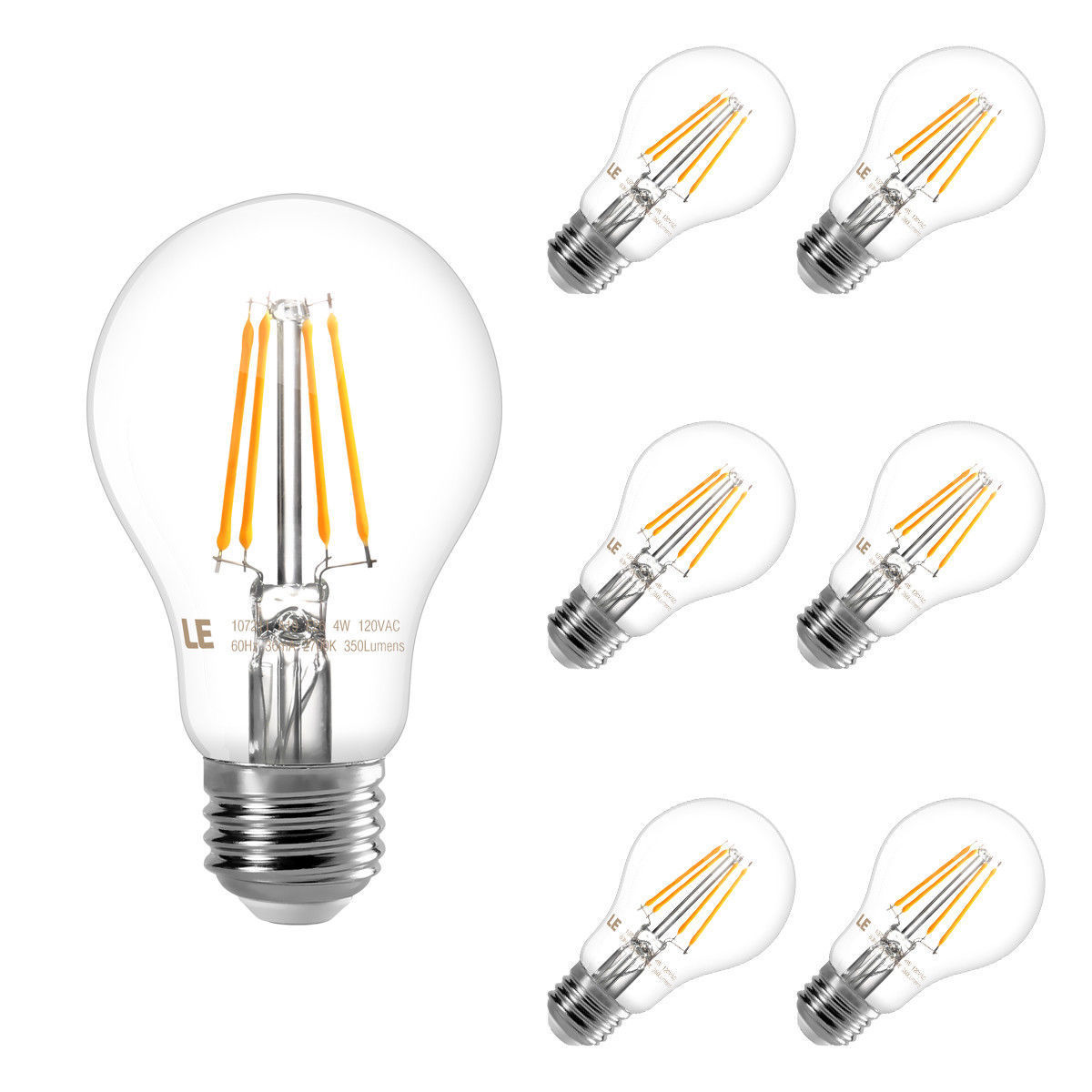 Lighting EVER 4W A19 E26 Base LED Filament Light Bulbs, Dimmable 2700K Warm White LED Bulbs, 40W Incandescent Bulbs Equivalent, 6 Pack