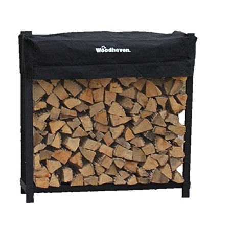 The Woodhaven 4 Foot Firewood Log Rack with Cover
