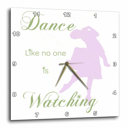 3dRose Dance Like No One is Watching Ballerina in Pink - Green Lettering, Wall Clock, 13 by