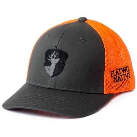 Flatwood Natives Charcoal and Neon Orange Front Acorn Embroidered Flexfit Hat