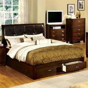 Furniture of America Errington Wood Storage Bed in Espresso - Cal King