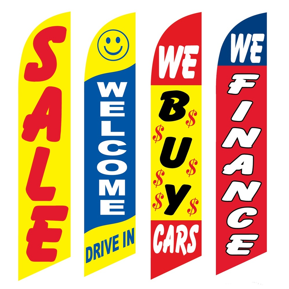 4 Advertising Swooper Flags Sale Welcome Drive In We Buy Cars We Finance