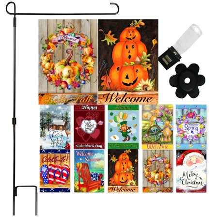 """Holiday Garden Flag Set of 10 - 12""""x18"""" Double Sided Flags for Outdoors with Black Garden Flagpole 34""""H x 17""""W"""