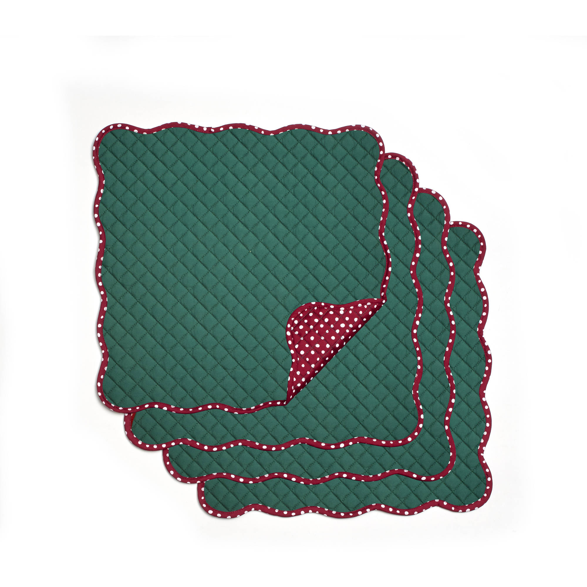 Pioneer Woman Solid Retro Quilted Reversible Placemats, Pack of 4 by