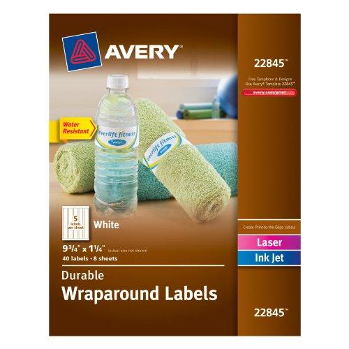 "Avery Wraparound Durable Labels - 9.75"" Width X 1.25"" Length - 40 / Pack - Rectangle - 5/sheet - Laser, Inkjet - White (22845)"