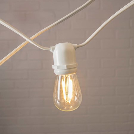 Patio & Bistro Lights Commercial Edison String Lights S14 Dimmable LED 106ft White Wire Warm ...