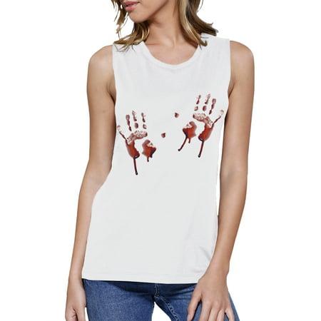 Bloody Handprints Womens Muscle Workout Tank Top Gift For - Halloween Handprints