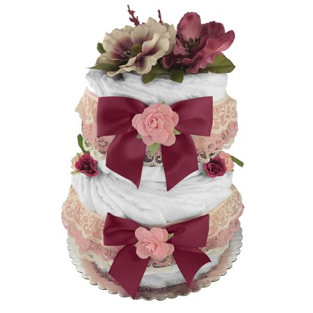 Victorian Diaper Cake For A Girl Baby Shower Gift Newborn