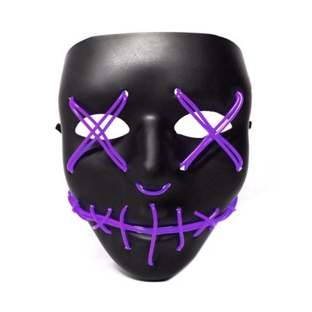 LANBOWO Light Up Purge Mask Stitched El Wire LED Halloween Rave Cosplay Props Supplies