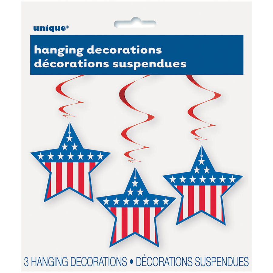 "26"" Hanging Stars and Stripes Patriotic Decorations, 3-count"