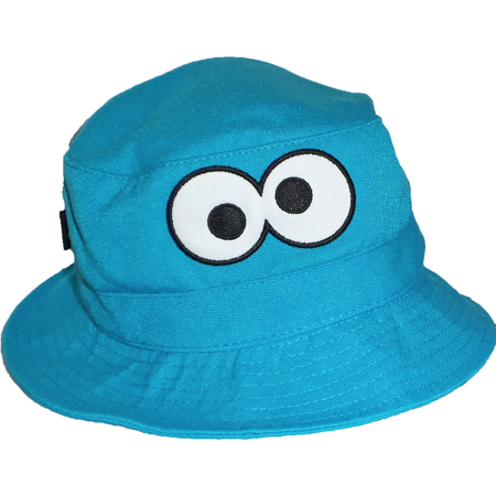 Sesame Street Buckets (Cookie Monster Big Googly Eyes Blue Sesame Street Character Bucket Cap Toddler Kids Unisex UPF 50+ Sun Hat Coppertone UV)