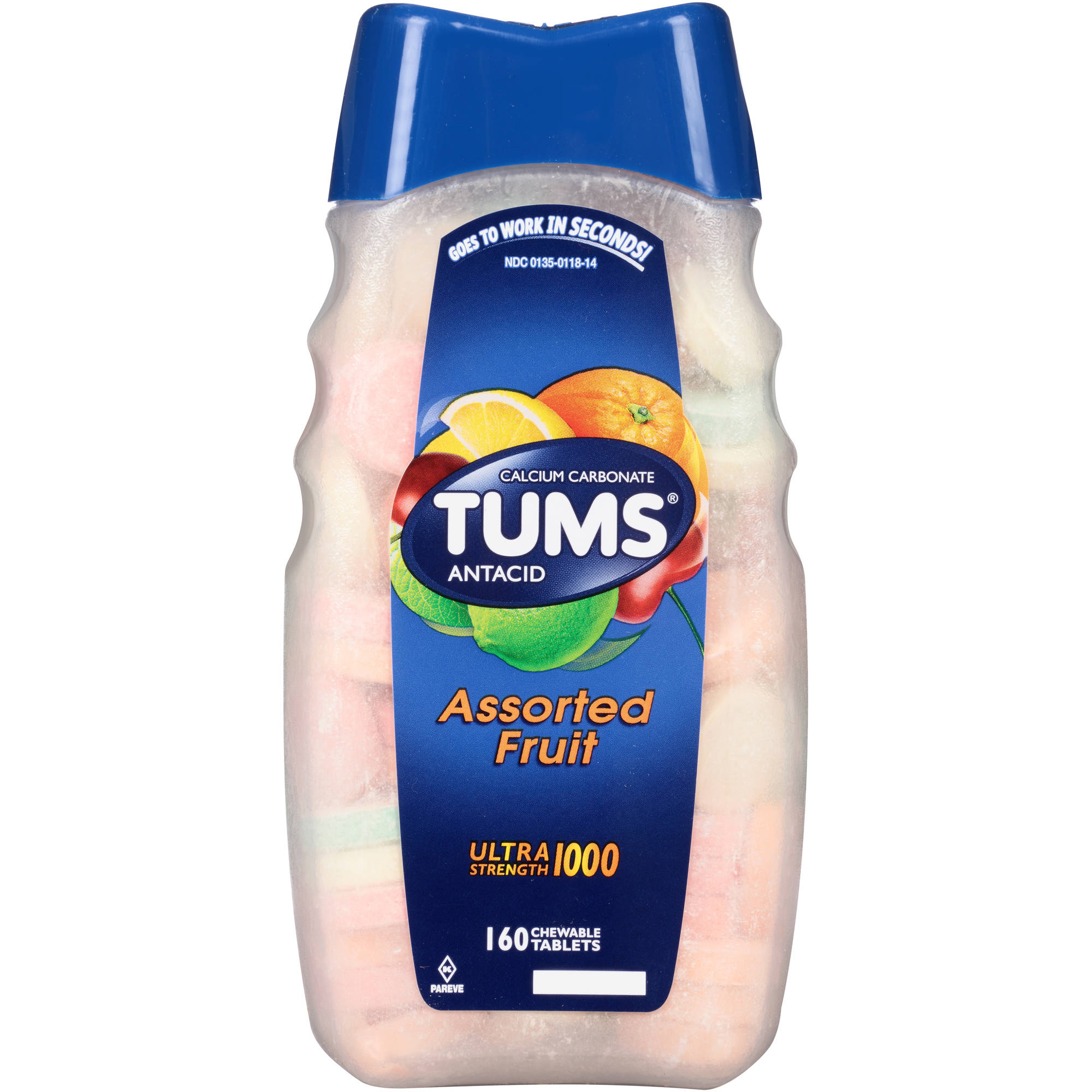 TUMS Antacid Ultra Strength 1000 Assorted Fruit Chewable Tablets, 160 count