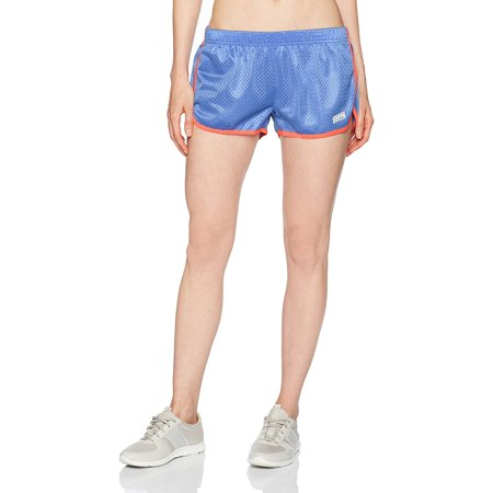 Soffe 482V4AZXLG Junior Retro Mesh Poly Shorts, Amparo Blue & Fiery Coral - Extra Large