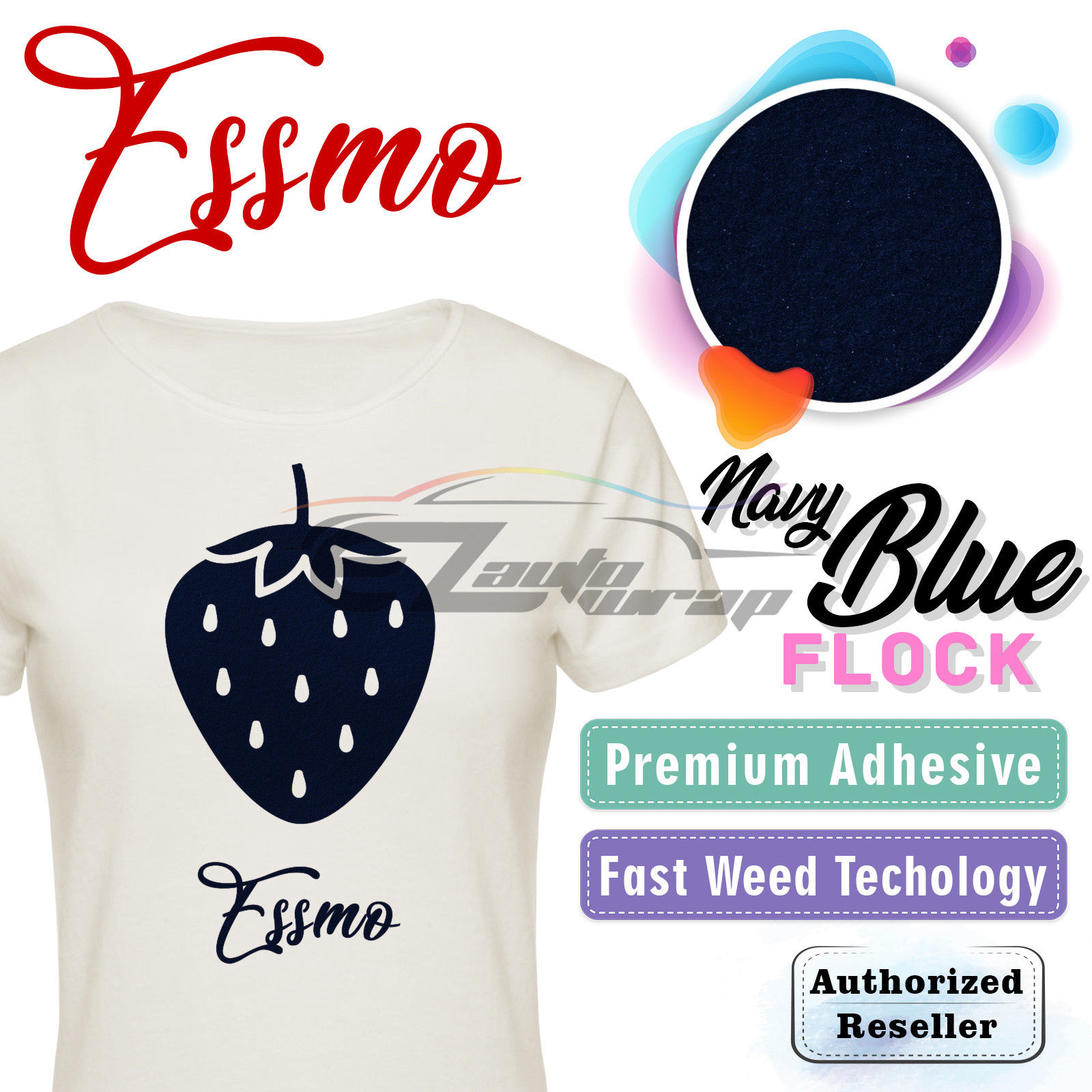 "ESSMO Navy Blue Flock Heat Transfer Vinyl HTV Sheet T-Shirt 20"" Wide Iron On Heat Press 20""x12"""