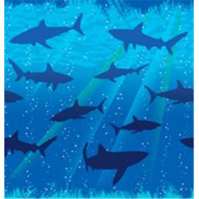 Creative Converting 725887 Shark Splash - Tablecover, Plastic, Border Print - Case of 6
