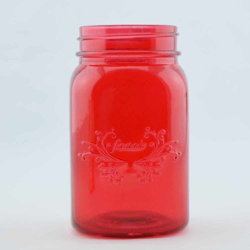 Fantado Regular Mouth Ruby Red Mason Jar w/ Handle, 16oz / 1 Pint by ...