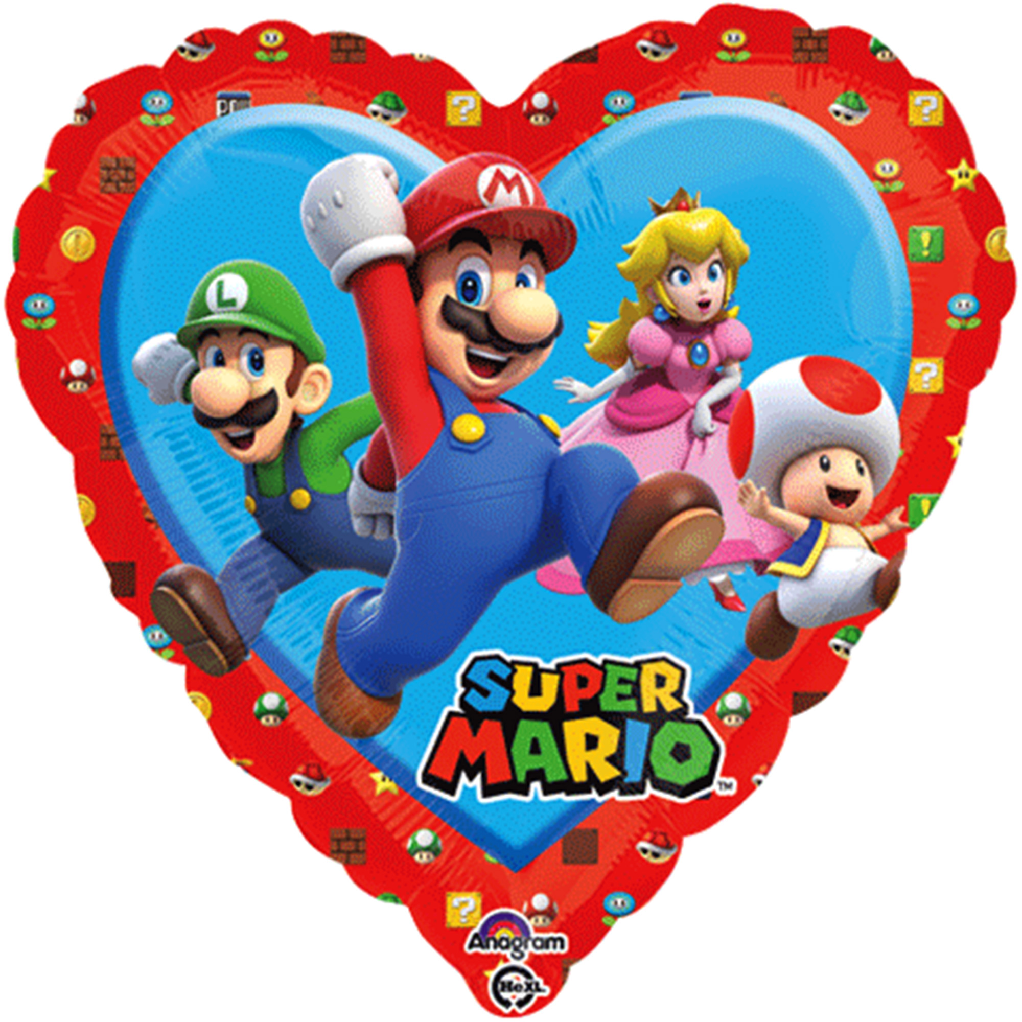 "Super Mario Bros Heart Shape Foil Balloon 18""( Each )"