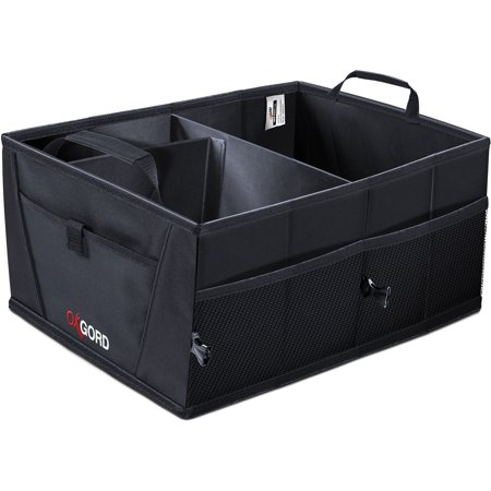 OxGord Auto Trunk Storage Organizer Bin with Pockets - Portable Cargo Carrier Caddy for Car Truck SUV Van, 21 x 15 x 10 Folding