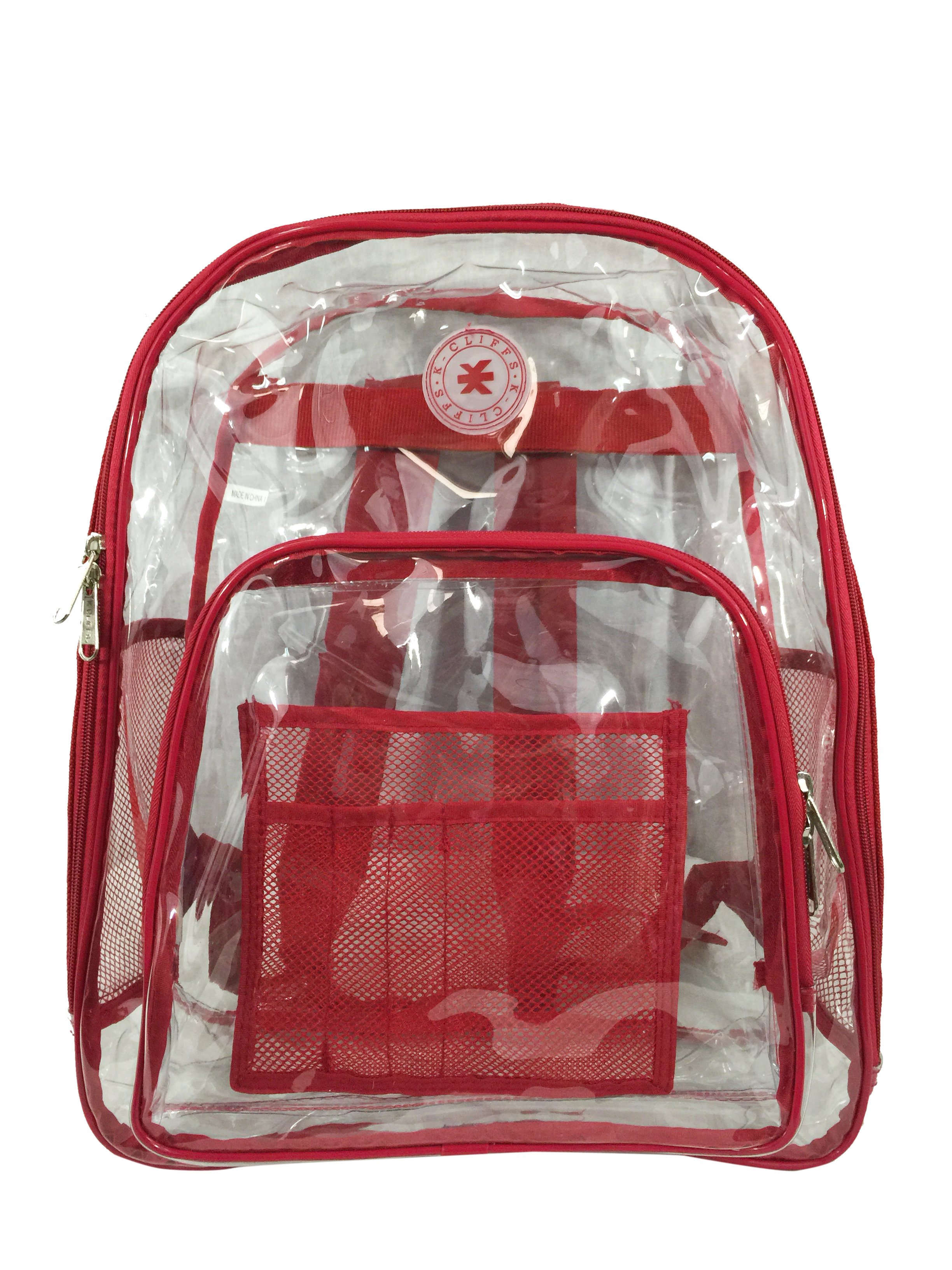 K-Cliffs Heavy Duty Clear Backpack See Through Daypack Student Transparent Bookbag Red by K-Cliffs