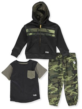 Beverly Hills Polo Club Fleece Hoodie, Twill Camo Jogger and T-Shirt, 3-Piece Outfit Set (Little Boys & Big Boys)